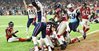 James White #28 of the New England Patriots scores the game winning touchdown in overtime against the Atlanta Falcons during Super Bowl 51 at NRG Stadium on February 5, 2017 in Houston, Texas