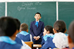 Students attend a lesson at a school in the village of Bogen, south-western Kazakhstan, April 17, 2017. Bogen, populated by some 1,000 people, is a former fishermen's village that used to be on the seashore.