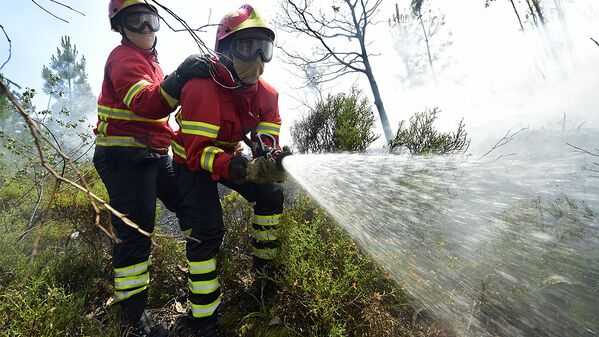 Firefighters use a hose as they combat a wildfire in Vale da Ponte, Pedrograo Grande, on June 20, 2017. The huge forest fire that erupted on June 17, 2017 in central Portugal killed at least 64 people and injured 135 more, with many trapped in their cars by the flames. - Sputnik Узбекистан