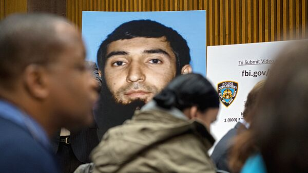 A photo of Sayfullo Saipov is displayed at a news conference at One Police Plaza Wednesday, Nov. 1, 2017, in New York. Saipov is accused of driving a truck on a bike path that killed several and injured others Tuesday near One World Trade Center.  - Sputnik Oʻzbekiston